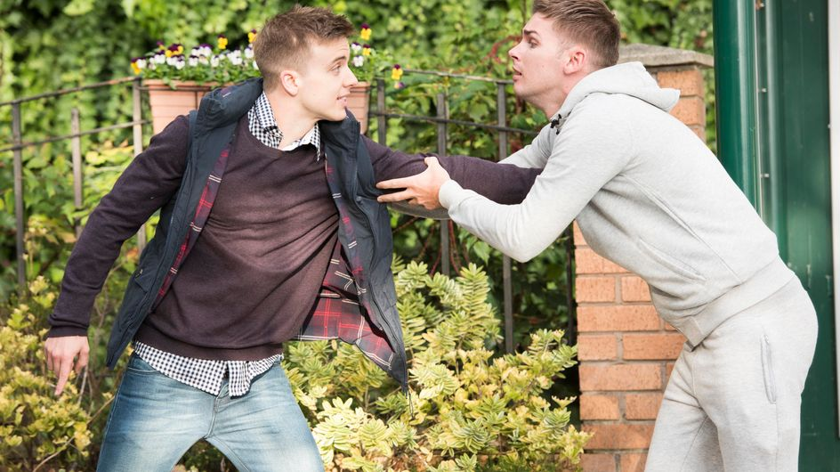 Hollyoaks 16/12 - Dirk has to break up a near-fight between Tony and Ste