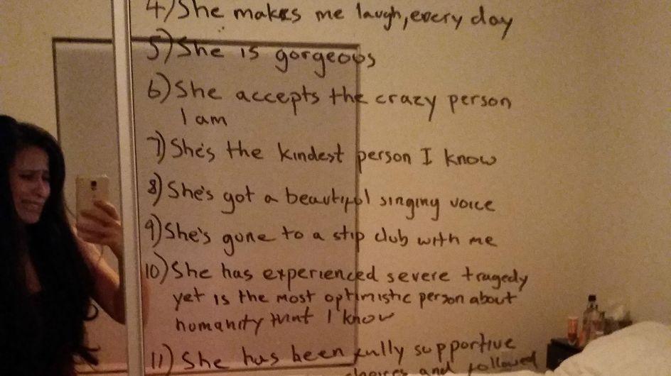 """""""Les raisons pour lesquelles j'aime ma femme"""", la belle surprise d'un mari à sa compagne (Photo)"""