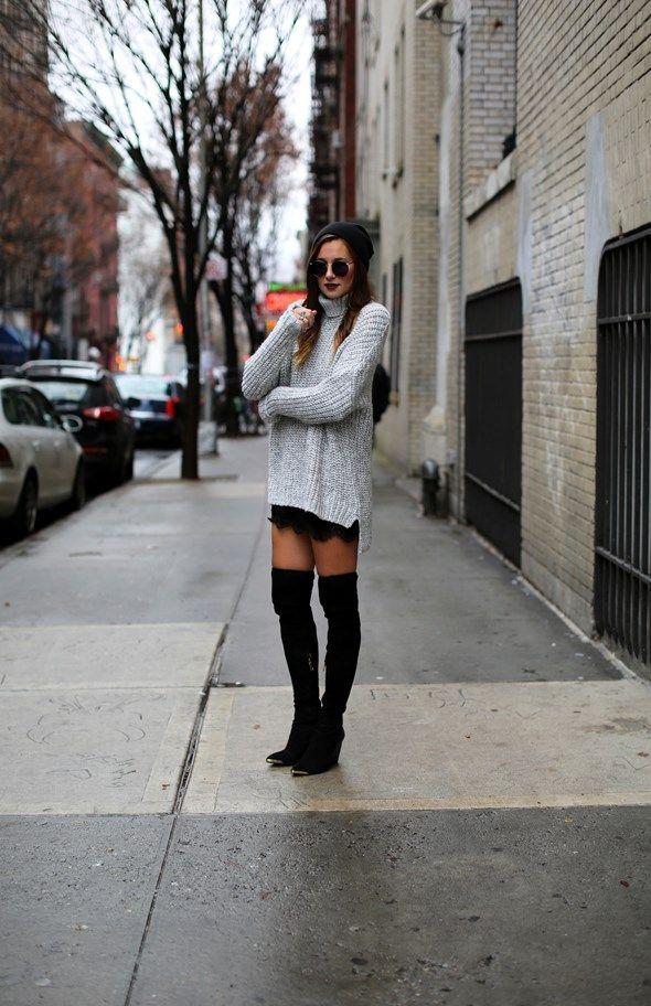 outfit con stivali alti sopra il ginocchio