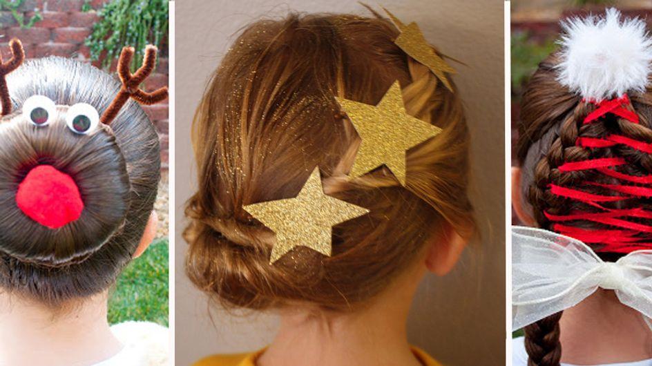 ¡Originales y divertidos! 25 peinados para niñas inspirados en la Navidad