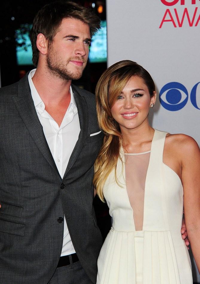 Liam e Miley, em janeiro de 2012