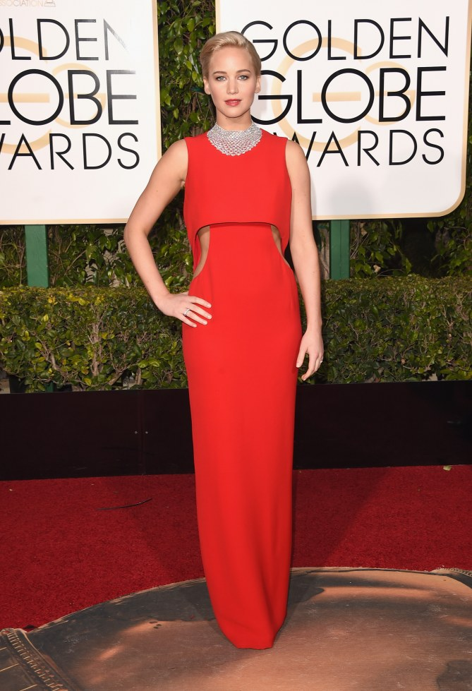 Jennifer Lawrence en Dior aux Golden Globes 2016