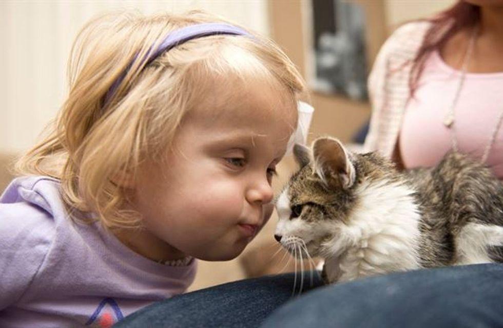 ¡Todo un ejemplo! La niña con el brazo amputado que adopta un gatito sin pata