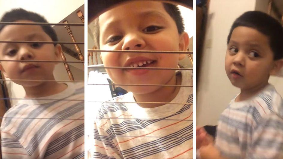 So nicht, Mama! Dieser kleiner Junge ist ganz erschrocken, als er sieht, was seine Mutter mit dem Handy macht