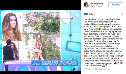 Barbara Morel répond à Geneviève de Fontenay sur Instagram