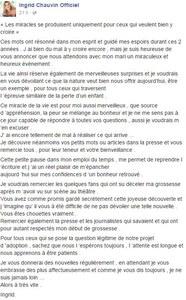 La touchante lettre d'Ingrid Chauvin sur Facebook