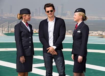 Orlando Bloom et des hôtesses de British Airways