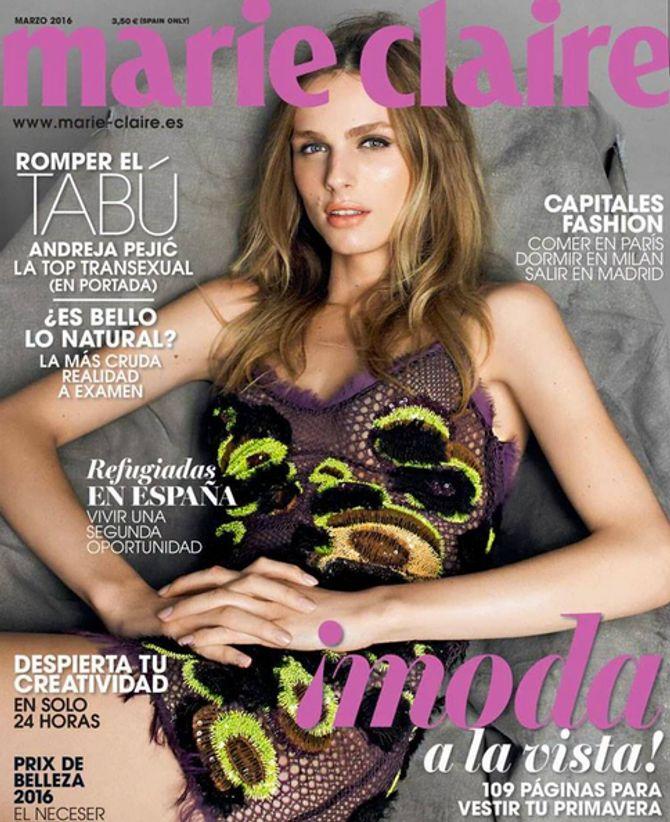Andreja Pejic en couverture de Marie Claire Espagne
