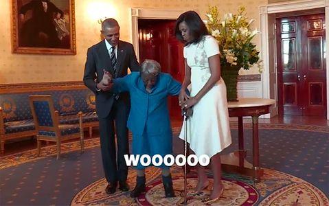 Virginia McLaurin rencontre Barack et Michelle Obama