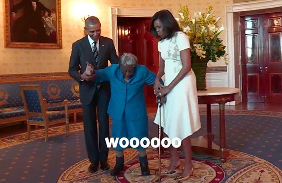 En rencontrant les Obama, cette mamie de 106 ans ne peut se retenir de danser de joie (Vidéo)