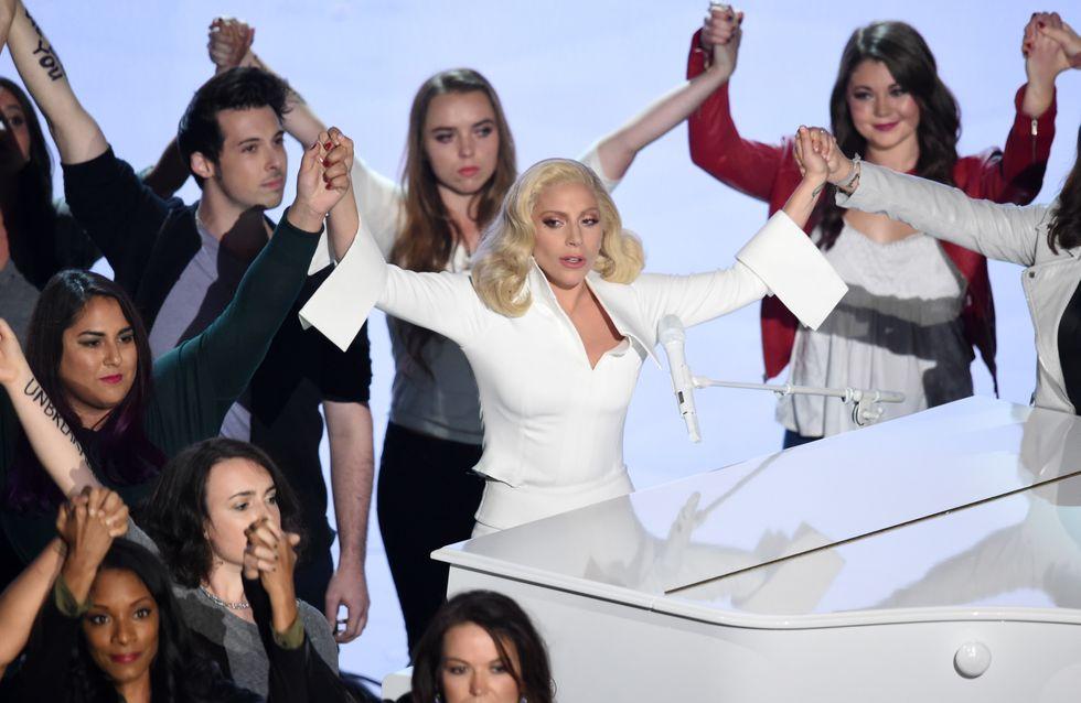Lady Gaga sur la scène des Oscars 2016 pour défendre les victimes d'agressions sexuelles (Vidéo et Photos)