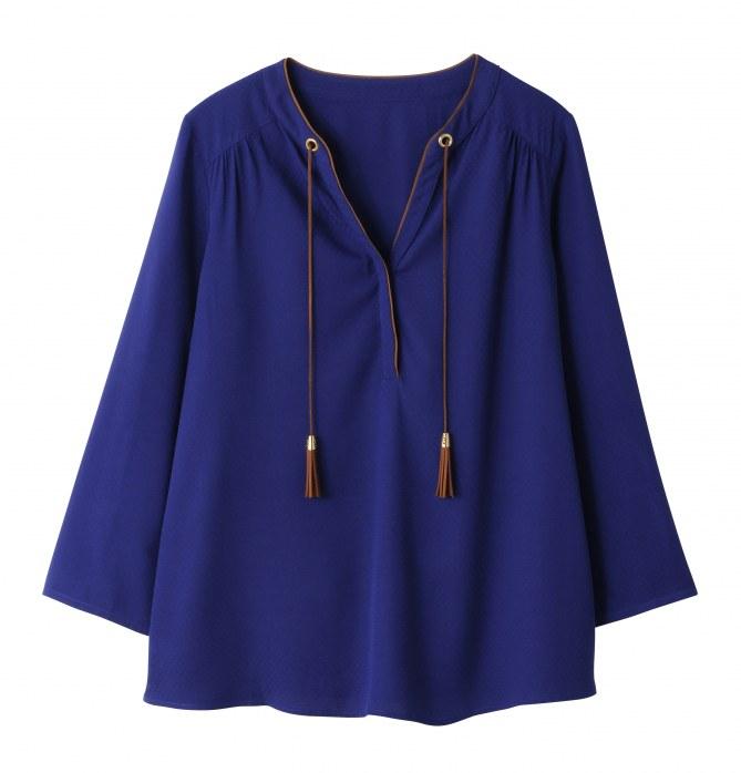 Blusa blu elettrico con nappine (20 euro)