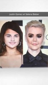 Selena Gomez et Justin Bieber en face swap