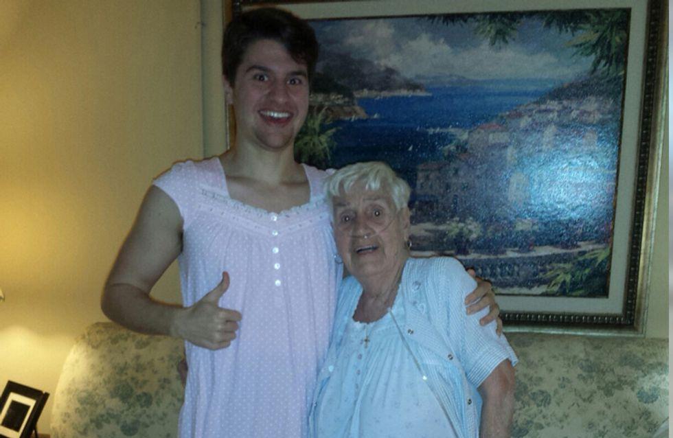 Weil sich seine kranke Großmutter für ihr Outfit schämt, tut ihr Enkel etwas Rührendes