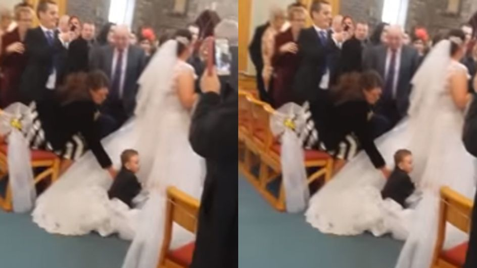 You Have To See This Little Kid Dive-Bomb His Aunt's Wedding Dress