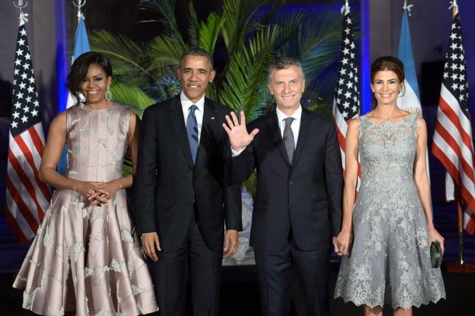 Michelle et Barack Obama et le président argentin et son épouse