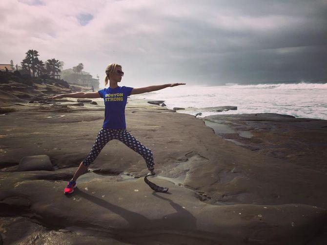 Adrianne Haslet-Davis prépare sa course