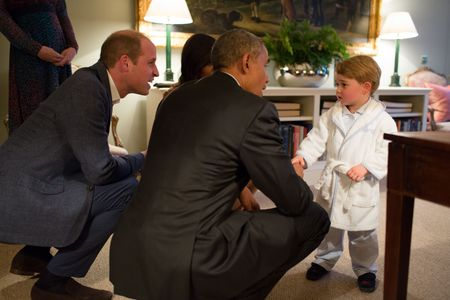 Le prince George avec Barack Obama et William