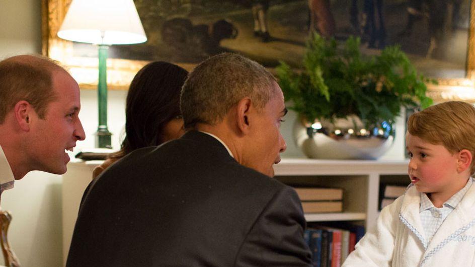 Quand le prince George rencontre Barack et Michelle Obama en pyjama (Photos)