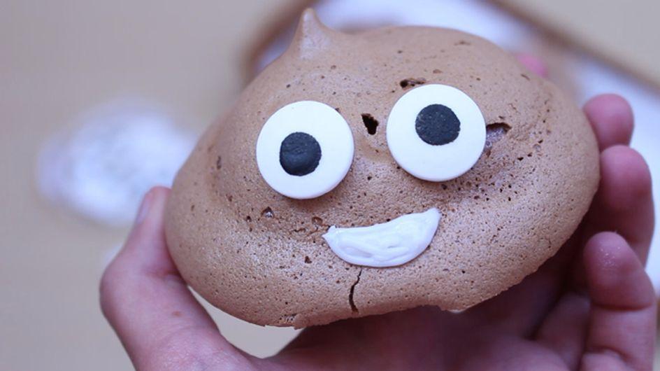 ¡El postre más divertido! Merengue de chocolate en forma de emoji