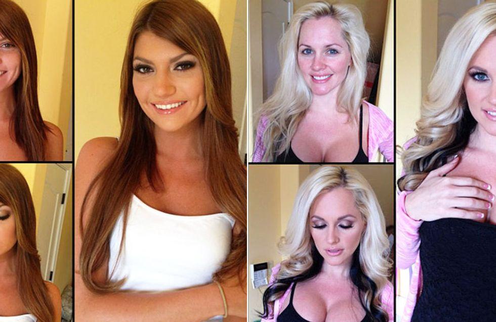 Zwei Gesichter: Porno-Darstellerinnen ohne Make-up