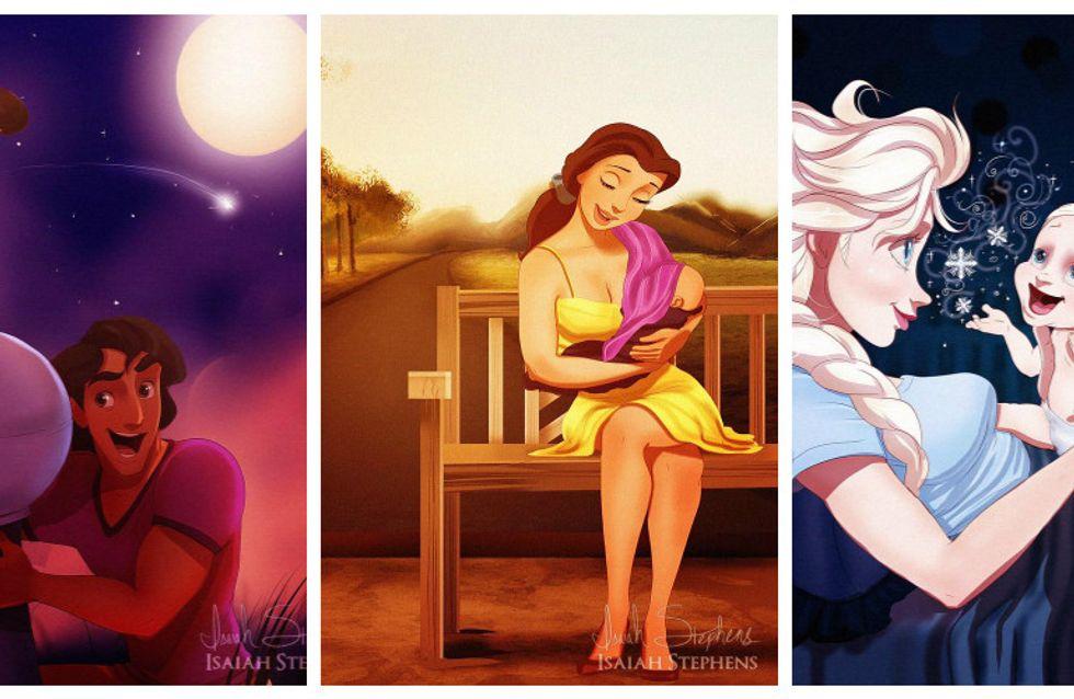 Principesse Disney incinte: la gallery che mostra le principesse alle prese con il parto e i pannolini!