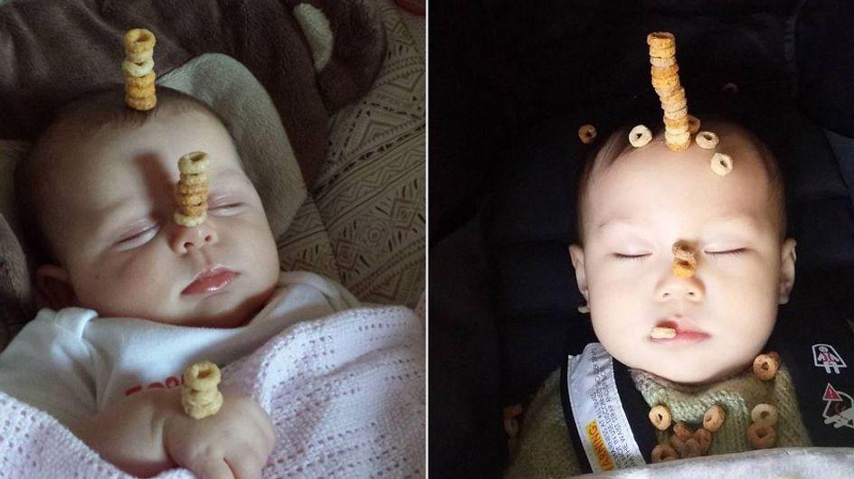 'Cheerio Challenge': Papas stapeln Cornflakes auf ihren Kindern - und das Internet amüsiert sich!