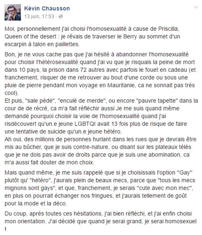 Post Facebook de Kévin Chausson