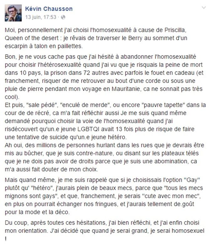 Post Facebook de Kévin Chausson