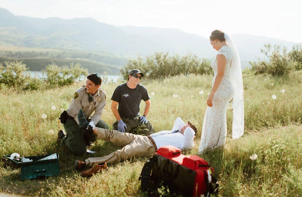 Autsch! Wegen seiner Hochzeitsfotos landet dieser Bräutigam im Krankenhaus