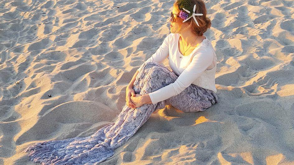 Manta en forma de cola de sirena, ¡locura fashion!
