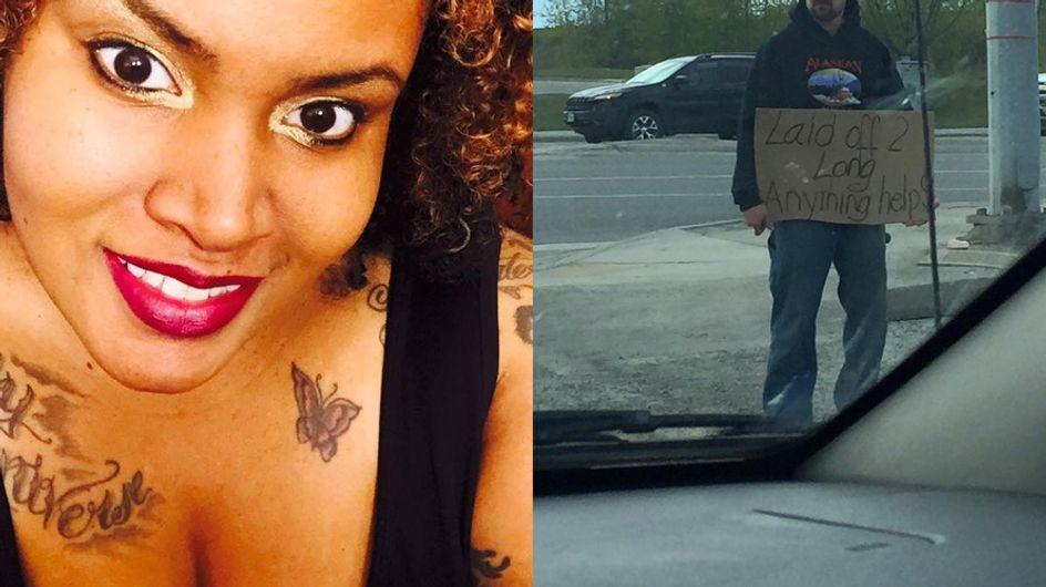 Sie entdeckt einen armen Mann auf der Straße - und hilft ihm auf ganz besondere Weise
