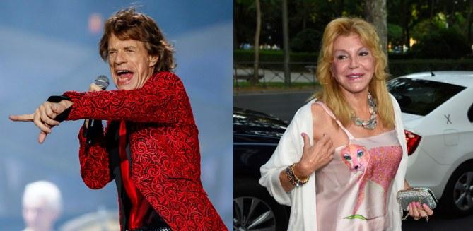Tienen 72. Mick Jagger y la Baronesa Thyssen.