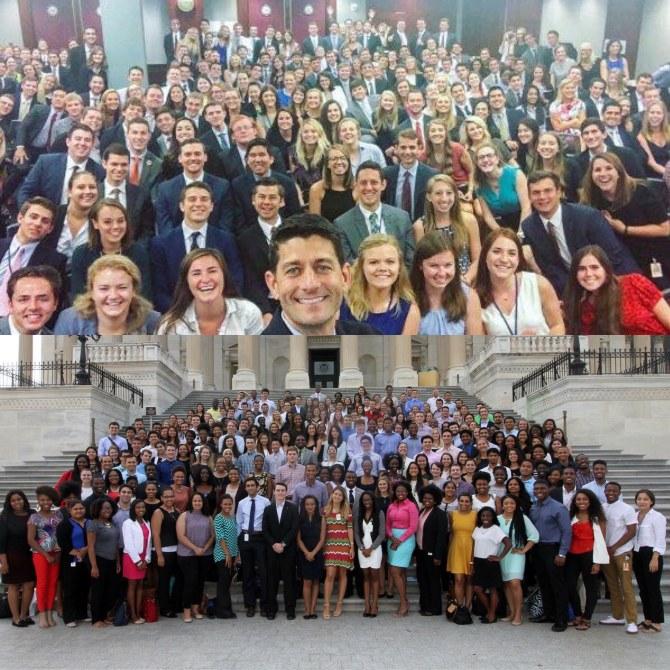 Les stagiaires Républicains en haut. Les stagiaires Démocrates en bas