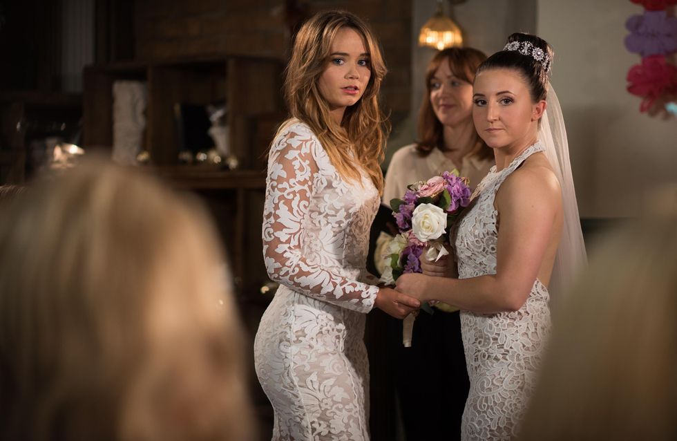 Hollyoaks 04/8 - Esther waits at her wedding for missing Kim