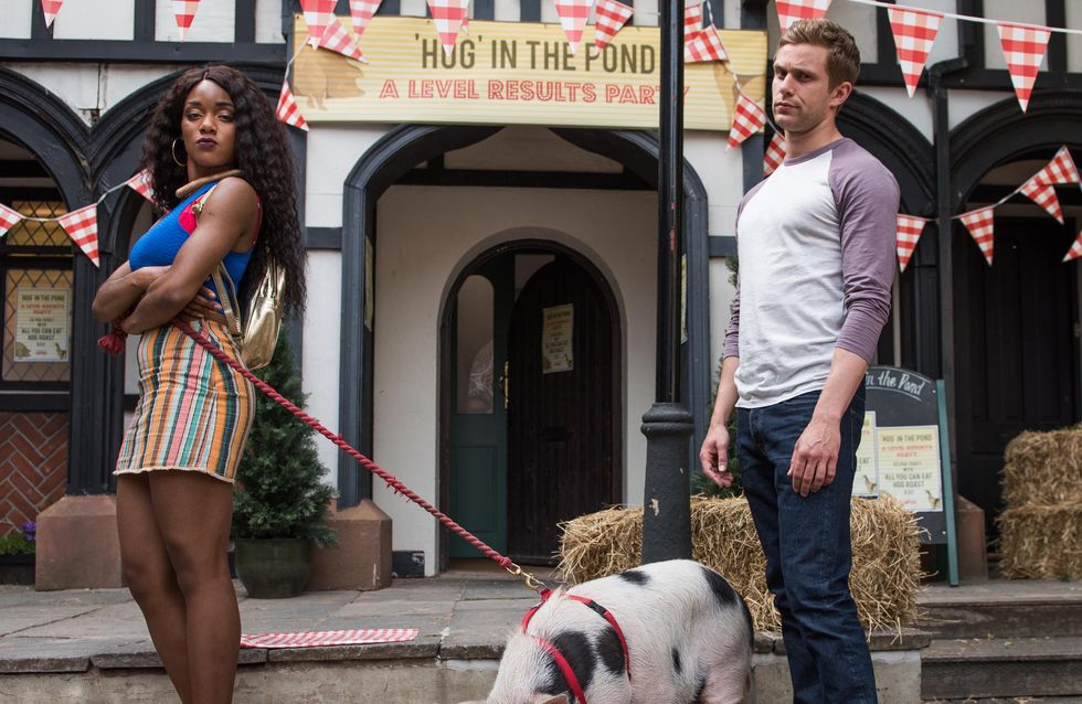Hollyoaks 16/8 - Cleo, Lisa and Nathan are horrified when a live pig turns up for the hog roast