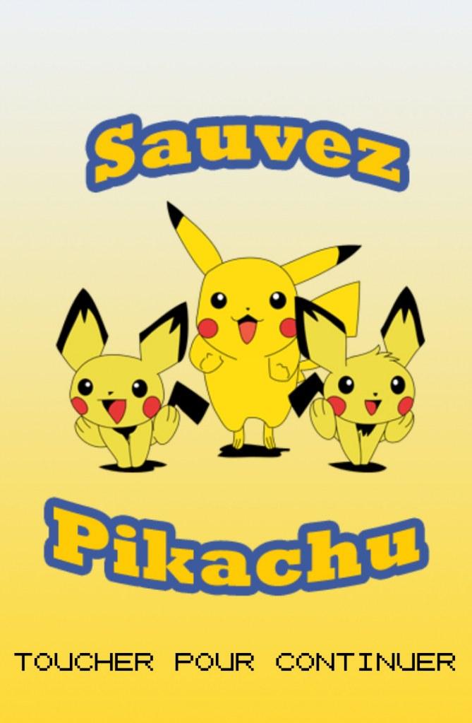 """Capture du jeu """"Sauvez Pikachu"""""""