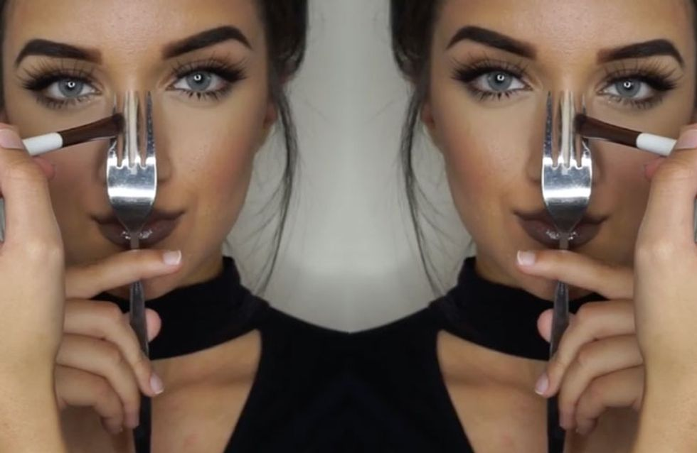 Genius Or Crazy? This Blogger Gets Her Contouring On Point Using Cutlery. Yes Cutlery!