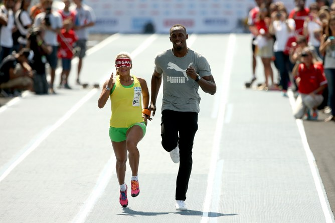 Terezinha Guilhermina et Usain Bolt