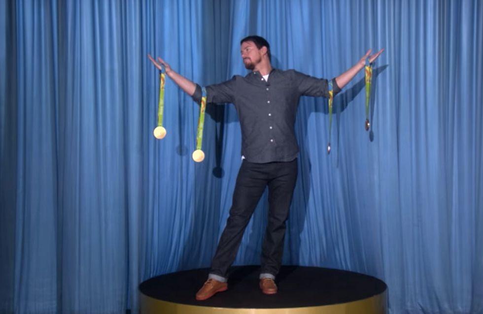 WATCH: Channing Tatum Becomes Simone Biles's Award Statue