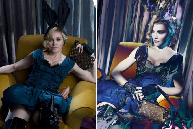 Madonna avant/après Photoshop