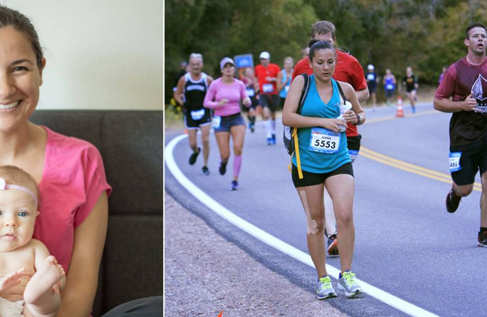 Eine echte Super-Mama: Diese Mutter pumpt Milch ab, während sie einen Marathon läuft