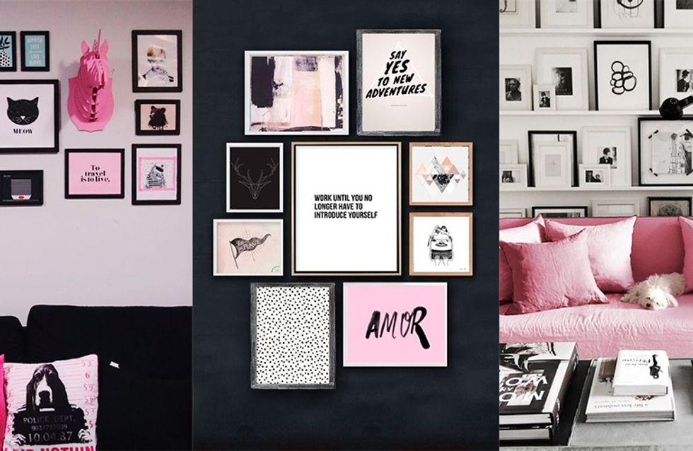 Curte paredes lotadas de quadros decorativos? Então faça a sua gallery wall!