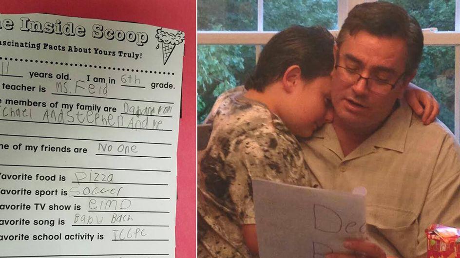 Was dieser autistische Junge in seinem Schulprojekt schreibt, bricht seinem Vater das Herz