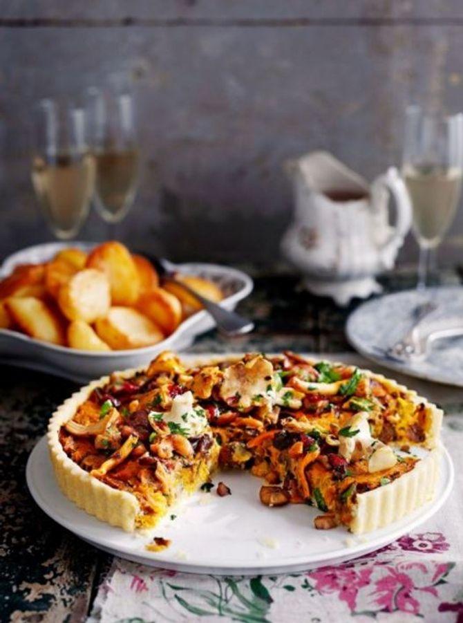Pilz-Tarte mit Kastanien und Cranberries