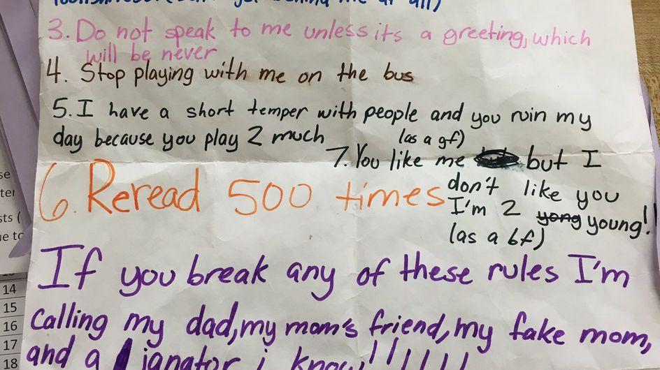 """""""Come comportarsi con me"""" la lista di Zoe, 10 anni, per un suo compagno di classe"""