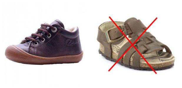Pour les premiers pas, faites attention aux chaussures que vous choisissez