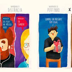 Ilustrações: namorando de pertinho X namorando a distância