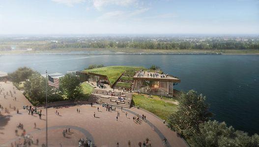 Perspectiva do novo museu em Liberty Island