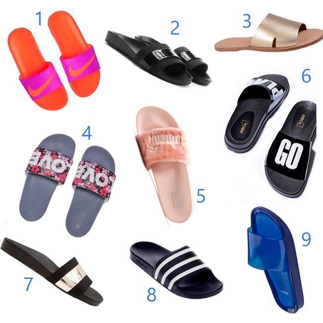 451680ab8a234 3. Rasteira slide Loucos e Santos, R$149 4. Slide Adidas, R$179,90 5.  Chinelo slide Fenty by Puma, R$349,90 6. Chinelo slide Inbox Shoes, R$99,90